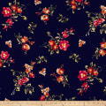 Double Brushed Jersey Knit English Floral Orange on Navy