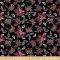 Bubble Crepe Abstract Floral Multi on Black