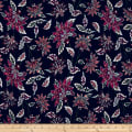 Bubble Crepe Abstract Floral Multi on Navy