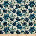 Bubble Crepe Abstract Floral Blue on Ivory