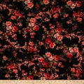 Bubble Crepe English Floral Orange on Black