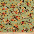 Bubble Crepe English Floral Yellow on Sage