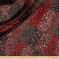Silk Chiffon Abstract Floral Patchwork Red/Black