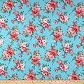 Liverpool Double Knit Floral Bloom Coral on Mint