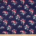 Techno Scuba Knit Floral Red/Light Blue on Navy