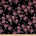 Techno Scuba Knit Roses Pink/Black