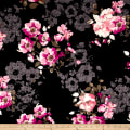 Techno Scuba Knit English Floral Pink on Black