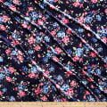Stretch Crushed Velvet Pink/Blue Roses on Navy