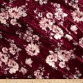 Stretch Crushed Velvet Floral Mauve on Wine