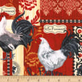 Timeless Treasures Rise And Shine French Rooster Patchwork Red