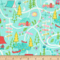 Timeless Treasures Happy Trails Camping Map Aqua