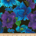 Timeless Treasures Fly By Night Allover Flowers Metallic Black