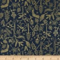 Cotton + Steel Rifle Paper Co Metallic Amalfi Black Forest Navy
