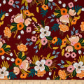 Cotton + Steel Rifle Paper Co Rayon Challis Amalfi Lively Floral Burgundy
