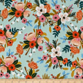 Cotton + Steel Rifle Paper Co Rayon Challis Amalfi Lively Floral Mint