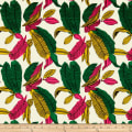 Cotton Linen Abstract Tropic Pink/Green