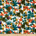 Cotton Linen Paradise Butterfly Garden Green/Orange