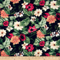 Cotton Linen Tropical Floral Fuschia/Green