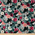 Cotton Linen Broadcloth Tropical Paradise Floral Pink/Ivory