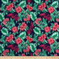 Cotton Linen Broadcloth Tropical Floral Pink/Green