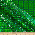 Faux Sequin Hologram Square Mesh Kelly Green