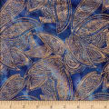 Indian Batik Leaves Gold Print Batik Blue