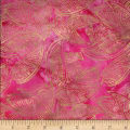 Indian Batik Leaves Gold Print Batik Pink