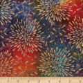 Indian Batik Starburst Gold Print Batik Multi