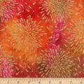 Indian Batik Starburst Gold Print Batik Orange/Pink/Yellow