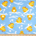 Comfy Flannel Prints Swimming Rubber Ducks Blue