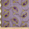Coco Paisley Sequin Double Border Lace Purple Gold