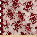 Chantilly Lace Double Border Burgundy