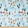 Lewis & Irene Snow Day Scene Pearlized Accent Metallic Icy Blue