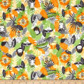 Printed Flannel Jungle Animals Orange
