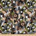 Printed Flannel Jungle Animals Brown