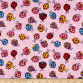 Printed Flannel Lady Bugs Pink