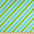 Maywood Studio Kimberbell Lil' Sprout Flannel Too! Diagonal Stripe Green/Teal