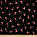 Maywood Studio Sweet Pea Flannel Little Sweet Peas Black