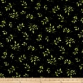 Maywood Studio Sweet Pea Flannel Tossed Leaves Black