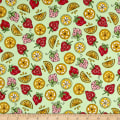Maywood Studio Kimberbell Lil' Sprout Flannel Too! Strawberries N' Lemons Green