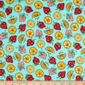 Maywood Studio Kimberbell Lil' Sprout Flannel Too! Strawberries N' Lemons Teal