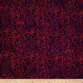 Sarah J Red Sky Batiks Curly Leaves Red