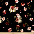 Stretch Velvet Print English Roses Mauve on Black