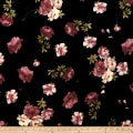 Stretch Velvet Print English Roses Taupe on Black