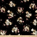 Stretch Velvet Print Floral Blush/Olive on Black