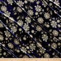 Stretch Velvet Print Victorian Floral Taupe/Navy