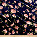 Stretch Velvet Print Roses Mauve on Navy