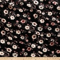 Stretch Velvet Print Floral Mauve/Coral on Black