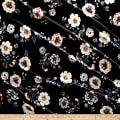 Stretch Velvet Print Floral Blue/Wine on Black