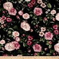 Rayon Spandex Jersey Knit Retro Floral Mauve on Black